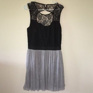 Black and Gray Knee-Length Formal Dress